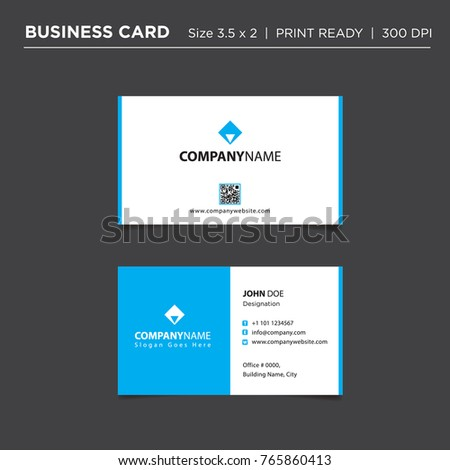 professional clean business card design template stock vector