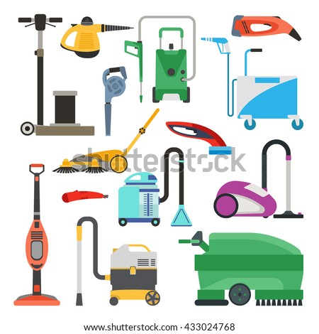 Professional cleaning equipment isolated on white background. Vector cleaning equipment tool and service cleaning equipment housework tools. House product chemical washing equipment. - stock vector