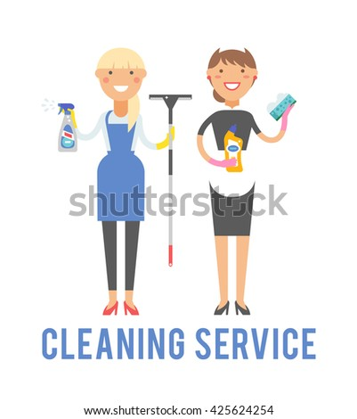 Professional cleaning service in uniforms during work and cleaning service vector characters. Cleaner home equipment worker cleaning service and hygiene interior working occupation cleaning service. - stock vector