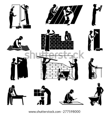 Professional construction workers builders and laborers black icons set isolated vector illustration - stock vector