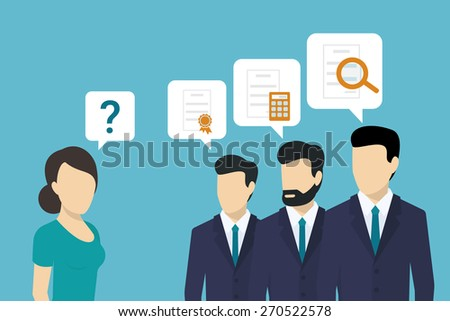 Professional consulting team is giving best solutions to the client - stock vector