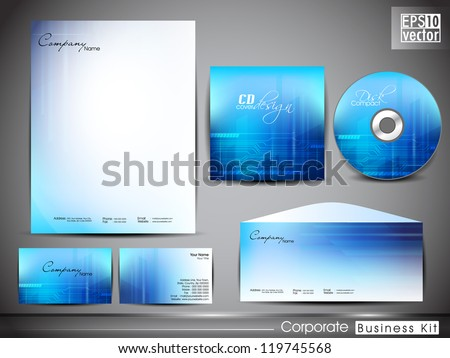 Professional corporate identity kit or business kit for your business includes CD Cover, Business Card, Envelope and Letter Head Designs in EPS 10 format. - stock vector
