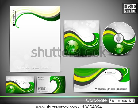 Professional Corporate Identity kit or business kit with artistic, abstract colorful design for your business includes CD Cover, Business Card, Envelope and Letter Head Designs in EPS 10 format. - stock vector