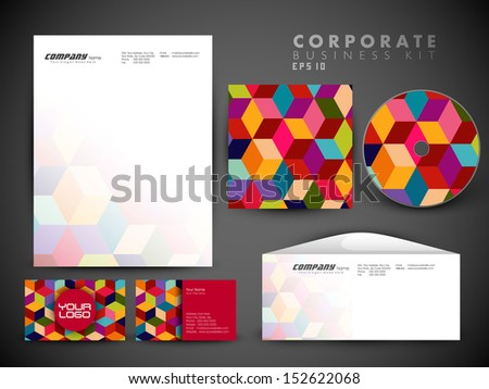 Professional corporate identity kit or business kit with artistic, abstract wave effect for your business includes CD Cover, Business Card, Envelope and Letter Head Designs - stock vector
