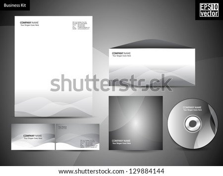 Professional Corporate Identity kit or business kit with artistic, abstract wave pattern in grey color for your business includes CD Cover,Envelope, Business Card and Letter Head Designs in EPS 10. - stock vector