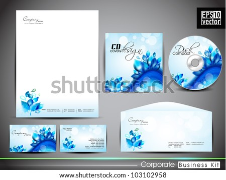 Professional corporate identity kit or business kit with artistic, water wave and splash effect for your business includes CD Cover, Business Card, Envelope and Letter Head Designs in EPS 10 format. - stock vector