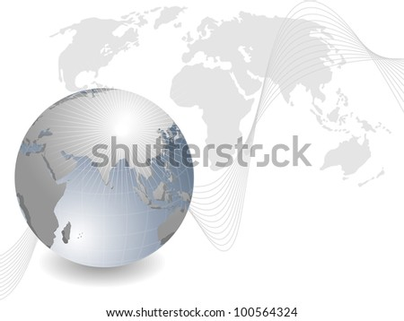 Professional Corporate or Business template for financial presentations showing globe in silver metallic color with red wave and copy space. EPS 10. Vector illustration. - stock vector