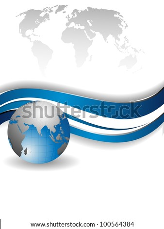 Professional Corporate or Business template for financial presentations showing globe in silver and blue color on world map with blue wave. EPS 10. Vector illustration. - stock vector