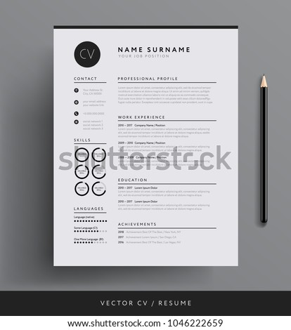 professional cv resume template design creativeのベクター画像素材