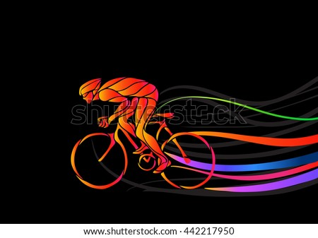 Professional cyclist involved in a bike race. - stock vector
