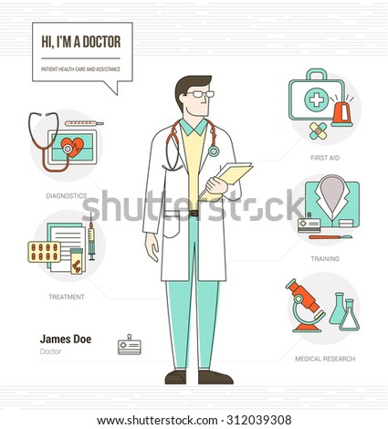 Professional Doctor Infographic Skills Resume With Tools, Medical Equipment  And Icons Set  What Are Skills On A Resume