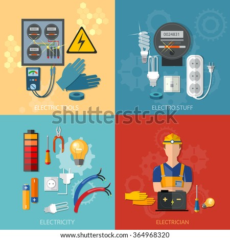 Professional electrical electricity energy electric man in yellow hard hat electric meter vector set - stock vector