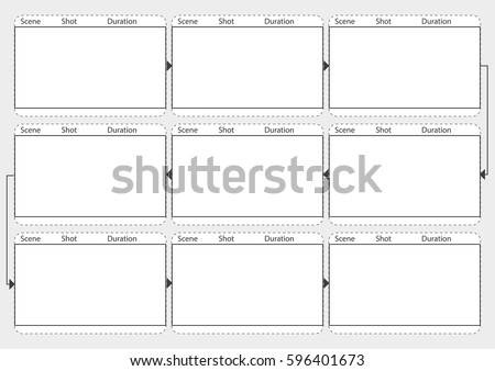 Professional Film Storyboard Vector Mockup Movie Stock Vector