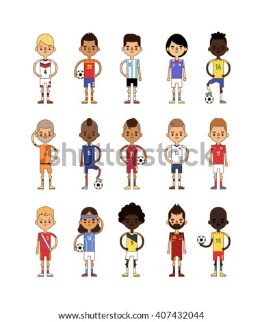 Professional football team sport soccer players group vector illustration. Football teams men league and teamwork goal play action football teams. Football american teams action uniform.