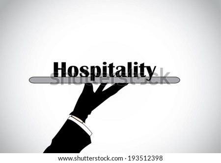 Professional hand silhouette presenting hospitality text - concept illustration. - stock vector