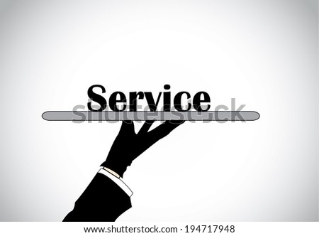 Professional hand silhouette presenting service text - concept illustration.