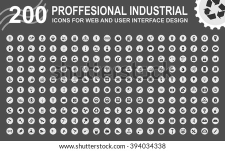 Professional industrial icons for web and user interface - stock vector