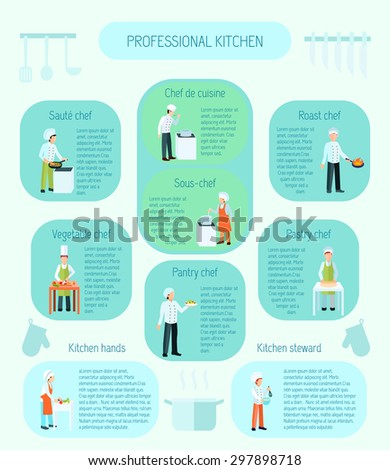 Professional kitchen types saute sauce vegetable roast and pastry chefs and steward flat color infographic vector illustration - stock vector