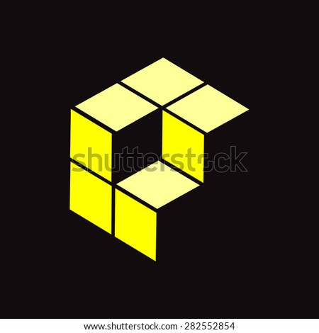 Professional Logo Design. Vector Illustration. Yellow. Black Background