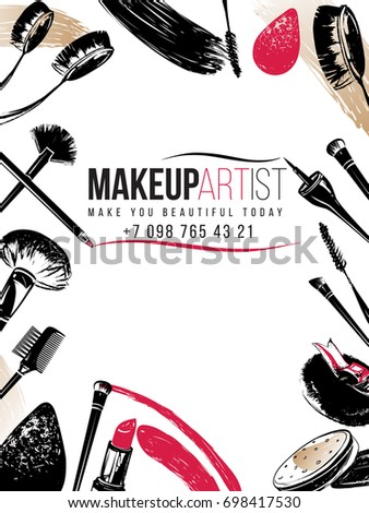 Professional makeup artist business card banner stock vector hd professional makeup artist business card and banner background black fashion illustration on white backdrop colourmoves