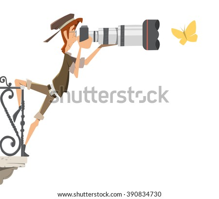 Professional man photographer paparazzi with big camera lens standing on a balcony and shoot take pictures butterfly. Color vector illustration. - stock vector