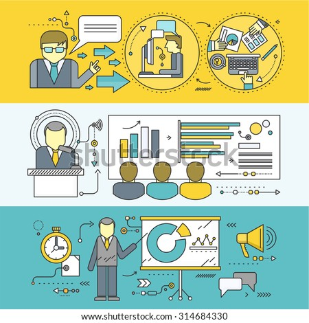 Professional master class seminar presentation. Conference and training, business communication, infographic and organization, teach and education, meeting and personnel. Set of thin, lines flat icons - stock vector