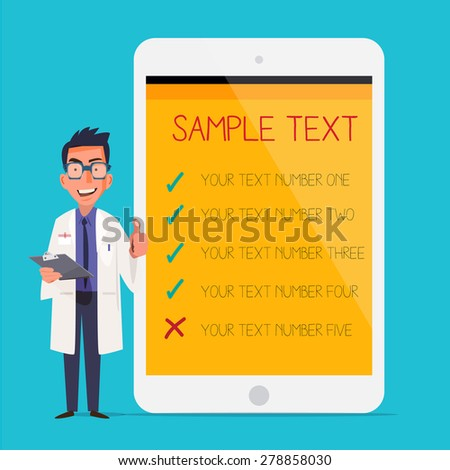 Professional medical male doctor character deign showing tablet computer in hospital for presentation with copy space for text. healthcare - vector illustration - stock vector