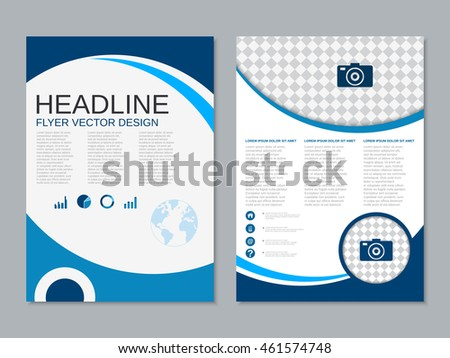 Professional modern two-sided flyer vector abstract design template