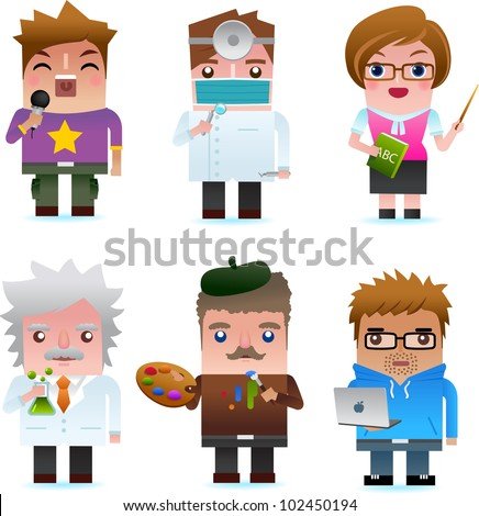 Professional occupation icons including singer, dentist, teacher, scientist, artist, programmer - stock vector