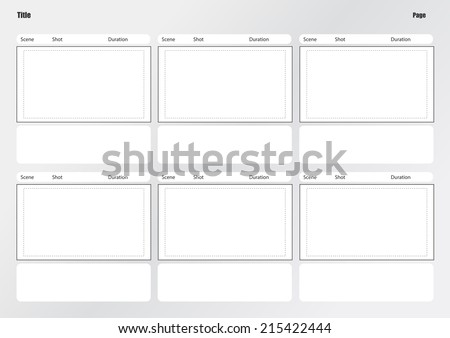 Professional of film storyboard template for easy to present the process of story.  A4 design of paper ratio is easy to fit for print out. - stock vector