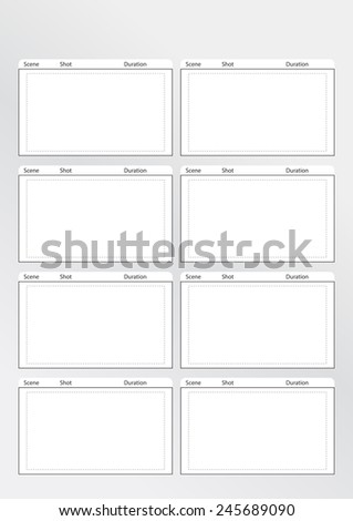 Professional of film storyboard template for easy to present the process of story. Special use for 4K , 2K ,HD, The Film Aspect ratios is 1:1:85  - stock vector