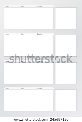 Professional of film storyboard template for easy to present the process of story. Special use for 4K , 2K ,HD, The Film Aspect ratios is 1:2:35  - stock vector