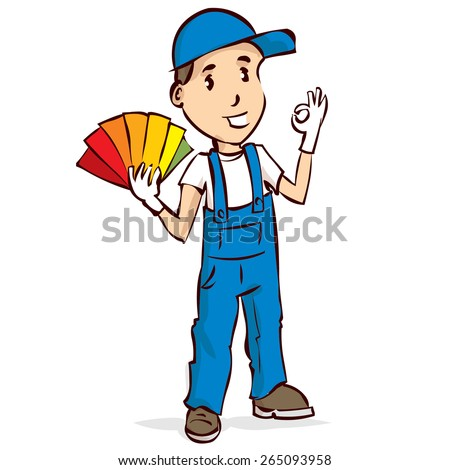 Professional painter. Hand drawn cartoon vector illustration. - stock vector