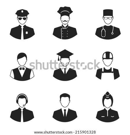 professional people avatars flat style icons set - stock vector