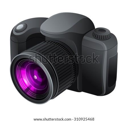 Professional photo camera. Vector illustration.