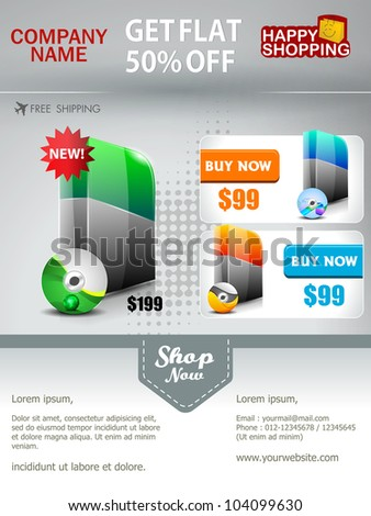 Professional product flyer or banner template with attractive discount offers for promotion, marketing can be used as for mailer and newsletter. EPS 10. Editable and space for your text. - stock vector
