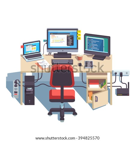 Professional programmer working desk setup with opened project on the monitors. Big table with multiple displays and laptop computer. Flat style color modern vector illustration. - stock vector
