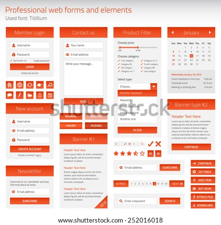 Professional set of orange web forms and elements on light background - stock vector