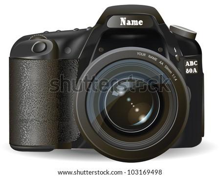 Professional SLR camera, photocamera - stock vector