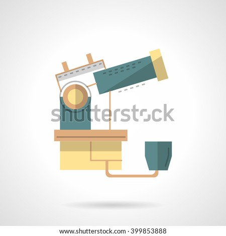 Professional space research equipment. Observatory telescope. Science technology.  Flat color style vector icon. Web design element for site, mobile and business. - stock vector