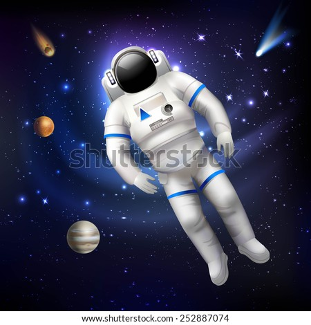 Professional spaceman astronaut in costume floating in outer space vector illustration - stock vector