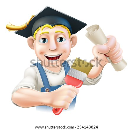 Professional training or learning or being qualified concept. Painter decorator with mortar board graduate cap and diploma certificate or other qualification. - stock vector