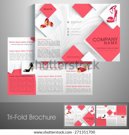 Professional trifold brochure, catalog and flyer template for sandals business purpose. - stock vector