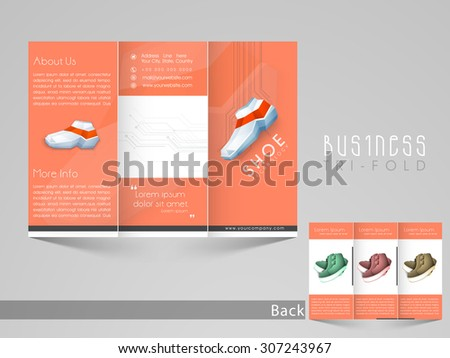 Professional trifold brochure, catalog and flyer template for shoe saling business purpose.