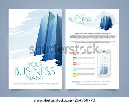 Professional two page flyer,template or brochure design for Real Estate or Architect purpose. - stock vector