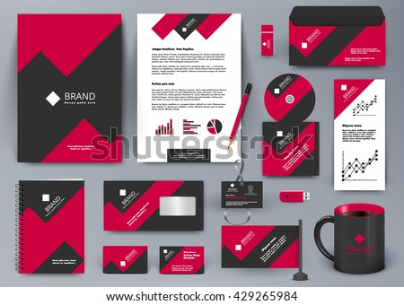 Professional universal branding design kit with red and black geometry forms like mountain or infographic. Corporate identity template. Business stationery with badge, folder, cup,  pennant, letter.  - stock vector