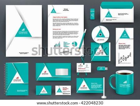Professional universal green branding design kit with origami element. Corporate identity template, business stationery mock-up for real estate company. Editable vector illustration: folder, mug, etc.