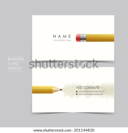 professional vector business card set template design with pencil - stock vector