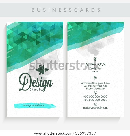 Professional Vertical Business Card Name Or Visiting Set With Front And Back Presentation
