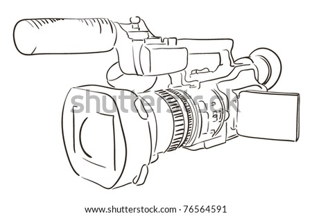 professional video camera drawing on white. camcorder line art vector